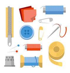 Sewing stuff set needles pins thread buttons vector