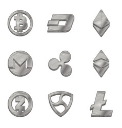 Silver cryptocurrency trendy 3d style icon vector