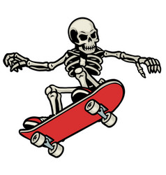 Skull skateboarding do ollie trick vector