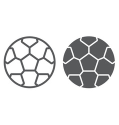 Soccer line and glyph icon game and sport vector