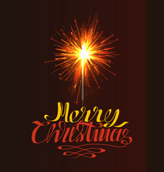 Sparkler with burning fire isolated on brown xmas vector