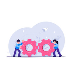 teamwork with gears business management and vector image