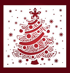 template for laser cutting christmas tree vector image