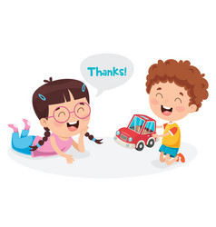 thank you with characters vector image