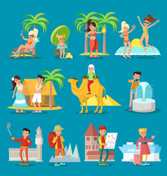 Traveling people set vector
