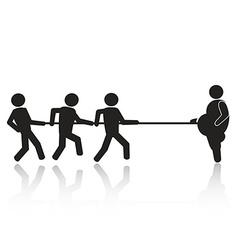 Tug-of-war businessmen stick figures vector