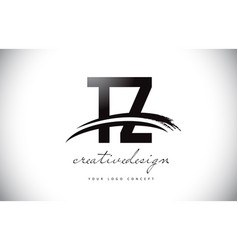 Tz t z letter logo design with swoosh and black vector