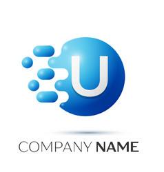 u letter splash logo blue dots and circle bubble vector image