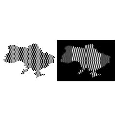 Ukraine map with crimea hex-tile abstraction vector