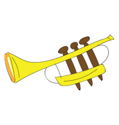 yellow cartoon trumpet on white background vector image