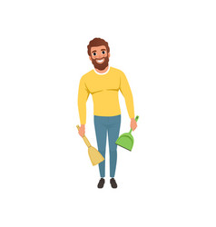 young guy with broom and scoop in hands cheerful vector image