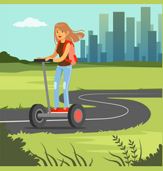 Young sportive woman riding on segway scooter on vector