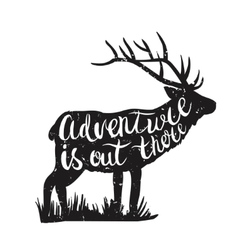 Deer silhouette and hand-drawn lettering vector image vector image