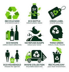 flat icon set for recycling vector image vector image