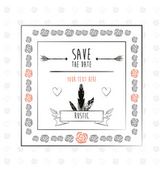 save the date floral rustic frame decorative vector image