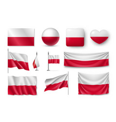 set poland flags banners banners symbols flat vector image vector image