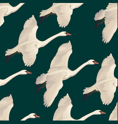 swans flying seamless pattern of drawing vector image