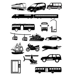 Transport vehicles icons set vector image