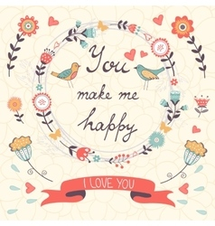 You make me happy romantic card with birds and vector image vector image