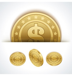 Dollars money coins in perspective vector image vector image