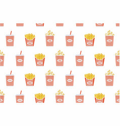 fast food seamless pattern vector image