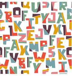 Hand lubberly cut colorful alphabet vector