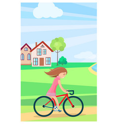little girl riding bike outdoors in summer time vector image
