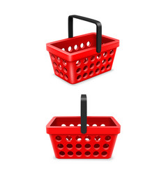 shopping cart set object 3d on white background vector image