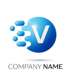 V letter splash logo blue dots and circle bubble vector