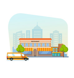 landscape with buildings restaurant cityscape vector image