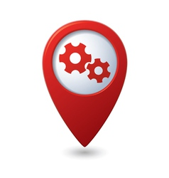 Map pointer with gears icon vector image vector image
