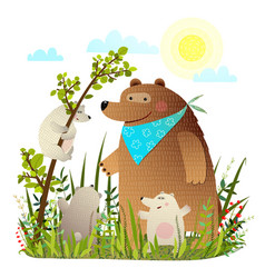 mother bear with cubs in wild forest vector image vector image