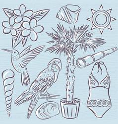 Set of summer symbols swim suit parrot vector