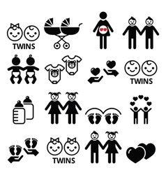 Twin babies icons set - double pram twins vector image vector image