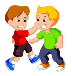 two young boys fighting vector image