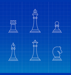 white chess pieces silhouettes vector image