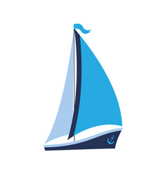 A ship with sails and an anchor can be used for vector