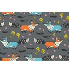 Cute seamless pattern with red and blue foxes vector image vector image