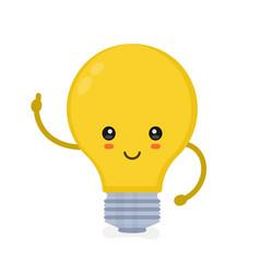cute smiling happy light bulb have idea vector image vector image