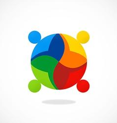 diversity people teamwork color logo vector image vector image