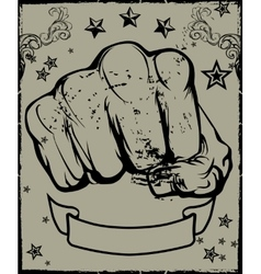 Fist Emblem and Backdrop vector image