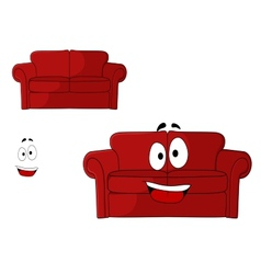 Fun cartoon upholstered red couch vector image
