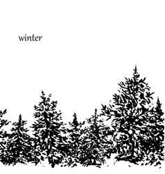 ink fir forest background vector image vector image