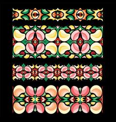 Traditional handicraft abstract seamless borders vector