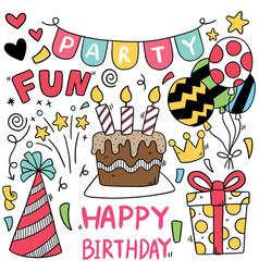 07-09-029 hand drawn party doodle happy birthday vector