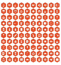 100 tea cup icons hexagon orange vector