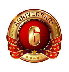 6 anniversary golden label with ribbon vector image