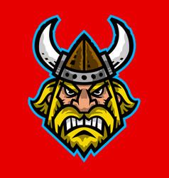 A cartoon viking with a horned helmet and beard vector