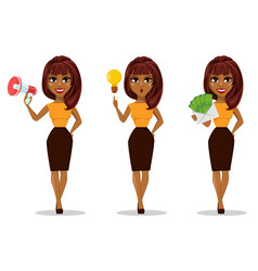 African american business woman cartoon character vector