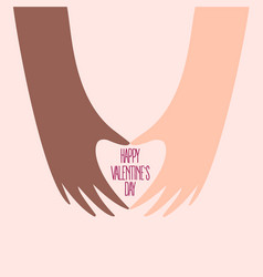 african and american hands make heart on valentine vector image